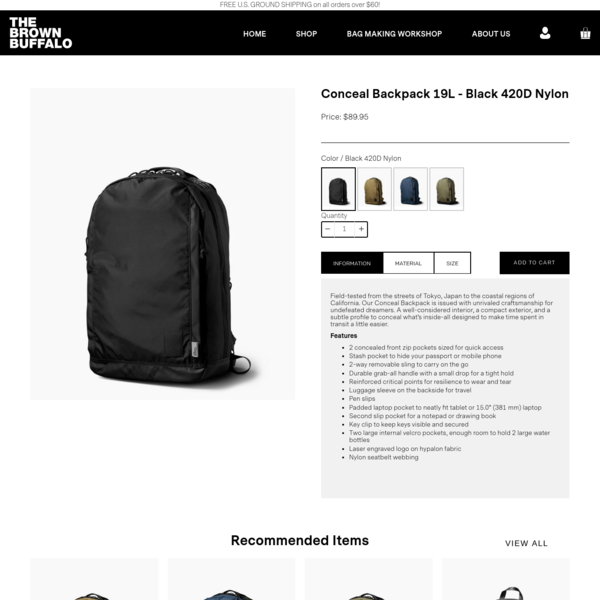 Conceal Backpack 19L - Black 420D Nylon