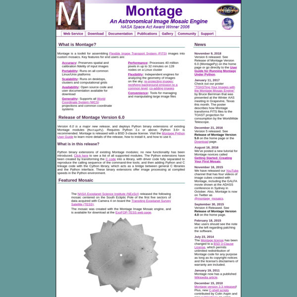 Montage - Image Mosaic Software for Astronomers