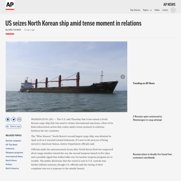 US seizes North Korean ship amid tense moment in relations