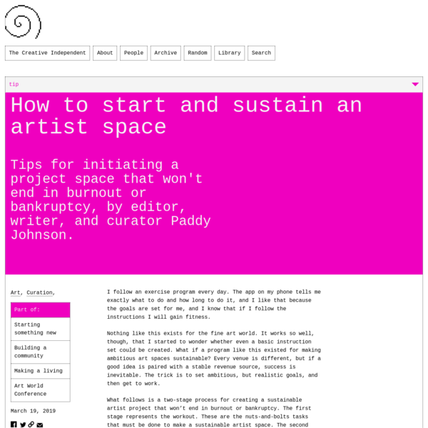 How to start and sustain an artist space