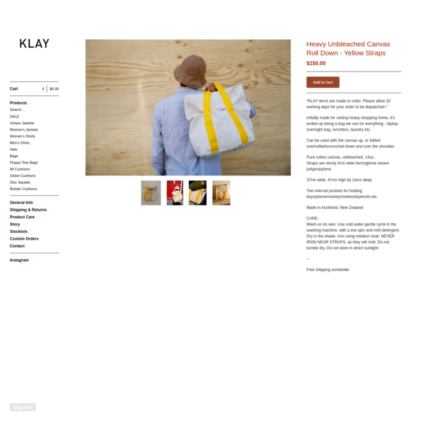 Heavy Unbleached Canvas Roll Down - Yellow Straps