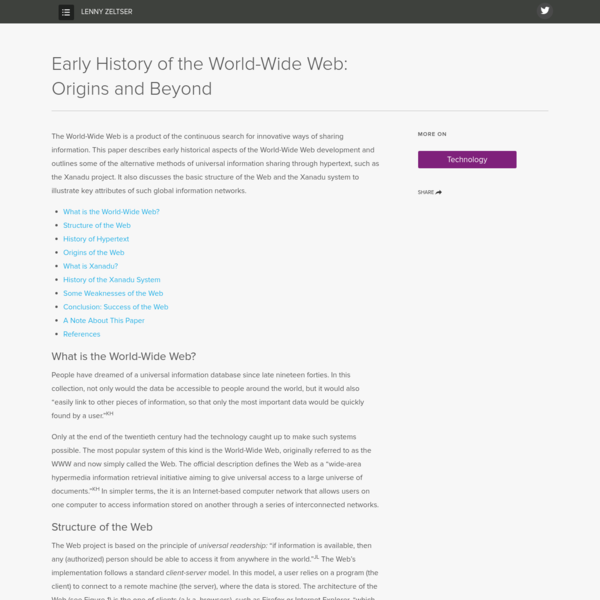 Early History of the World-Wide Web: Origins and Beyond