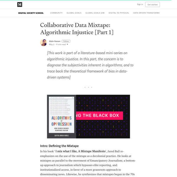 Collaborative Data Mixtape: Algorithmic Injustice [Part 1]