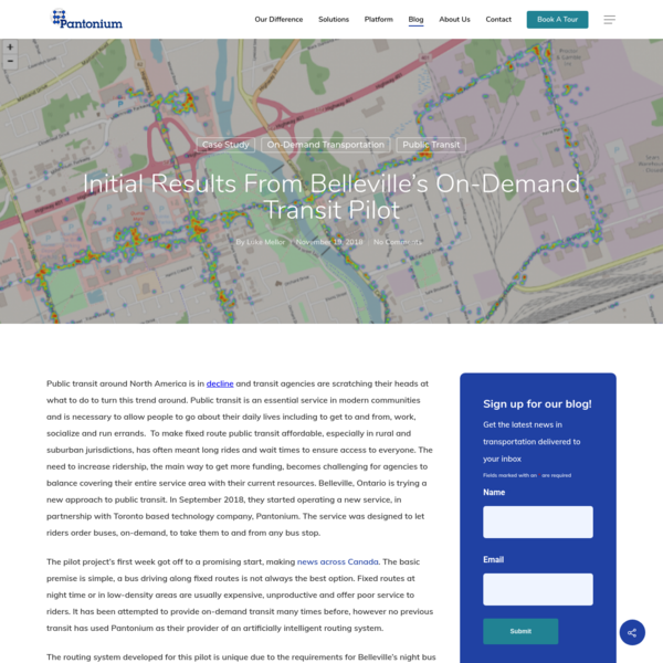 Initial Results from Belleville's On-Demand Transit Pilot