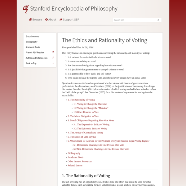 The Ethics and Rationality of Voting (Stanford Encyclopedia of Philosophy)