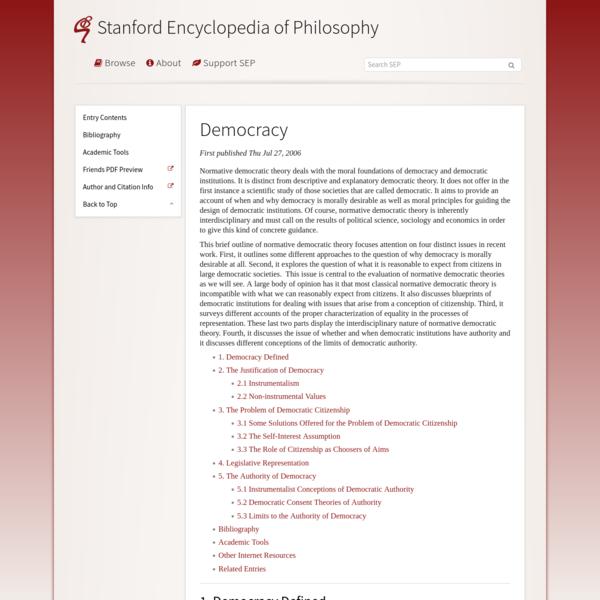 Democracy (Stanford Encyclopedia of Philosophy)