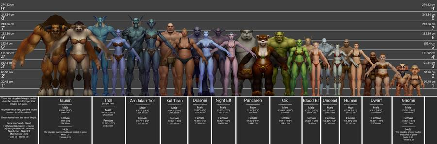 World of Warcraft, Player Model Height Chart