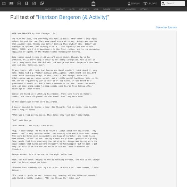 "Full text of ""Harrison Bergeron (& Activity)"""