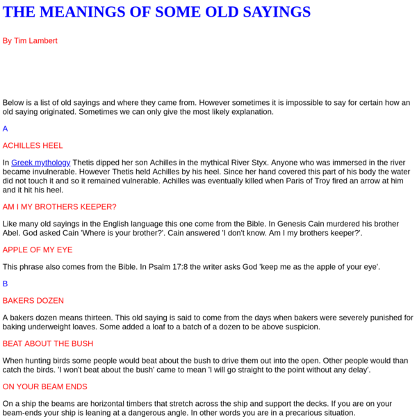 The Origins of Some Old Sayings