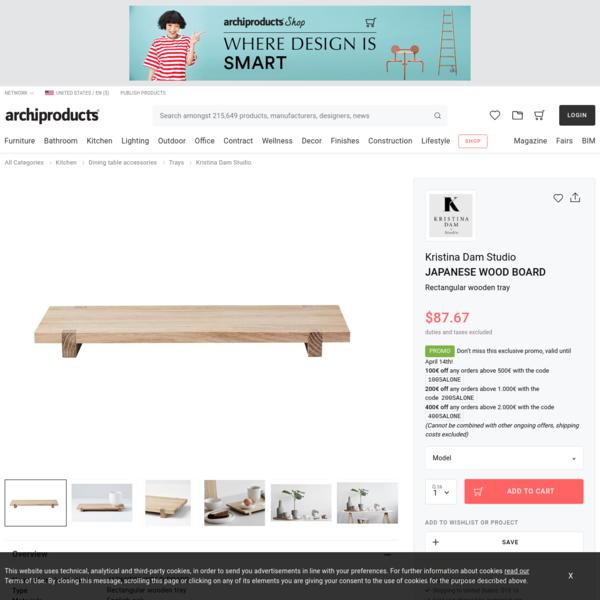 Rectangular wooden tray JAPANESE WOOD BOARD By Kristina Dam Studio