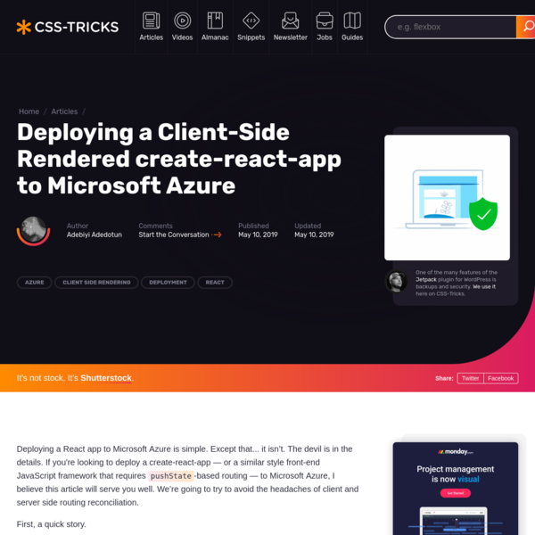Deploying a Client-Side Rendered create-react-app to Microsoft Azure   CSS-Tricks