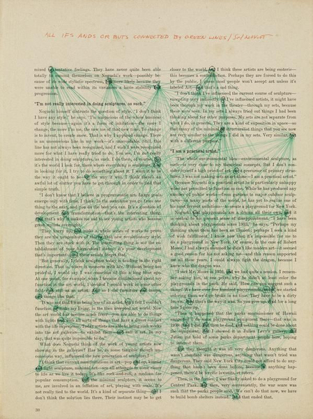 Sol LeWitt, All Ifs Ands or Buts Connected by Green Lines (1973)