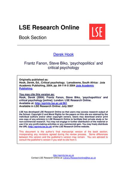 Psychopolitics and Critical Psychology / Franz Fanon by Derek Hooks