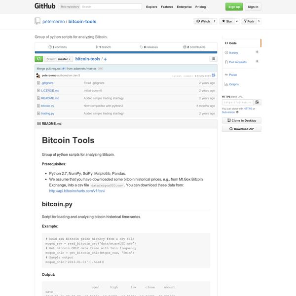bitcoin-tools - Group of python scripts for analyzing Bitcoin.