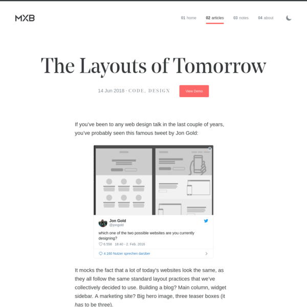 The Layouts of Tomorrow