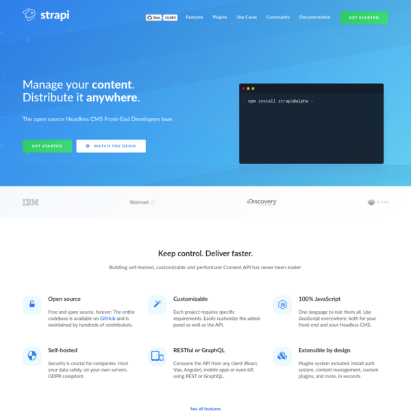 Strapi - Open source Node.js Headless CMS 🚀
