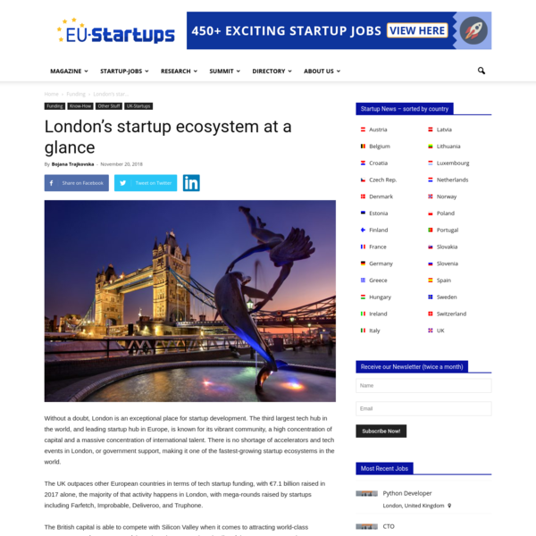 London's startup ecosystem at a glance