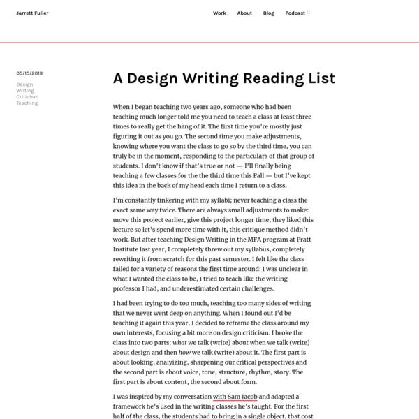 A Design Writing Reading List | Blog—Jarrett Fuller