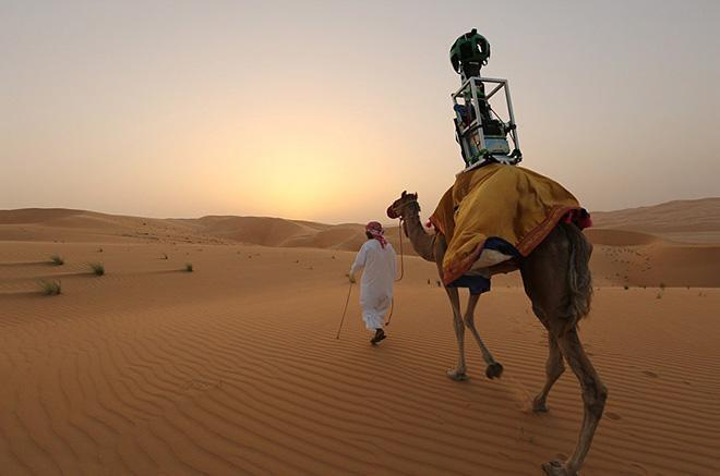 A man leads a camel in the desert. A google maps omnidirectional camera is strapped to the camel's back