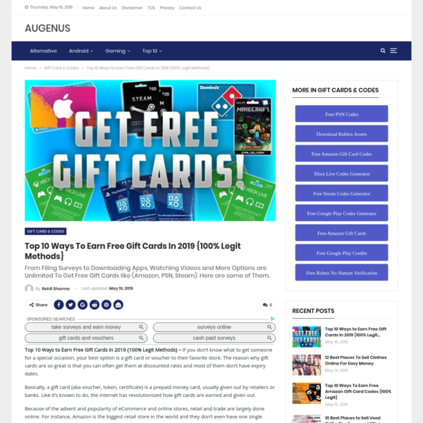 Top 10 Ways to Earn Free Gift Cards in 2019 {100% Legit Methods} - Augenus