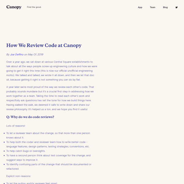 Canopy - Blog - How We Review Code at Canopy