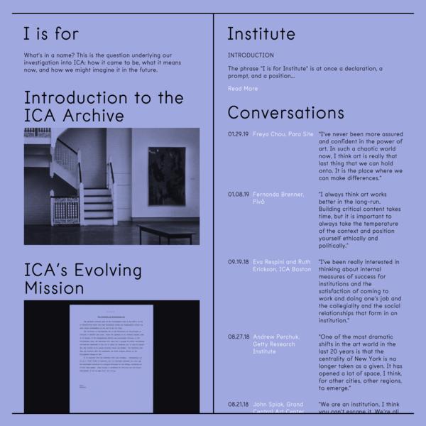I is for Institute - ICA Philadelphia   Home