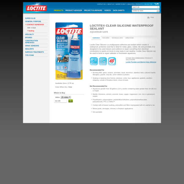 Clear Silicone, Waterproof Sealant, Aquarium Sealant from Loctite Adhesives
