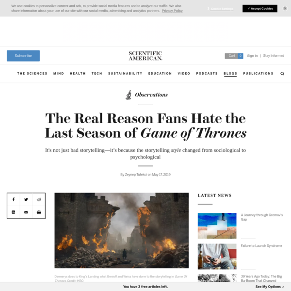 The Real Reason Fans Hate the Last Season of Game of Thrones - Scientific American Blog Network