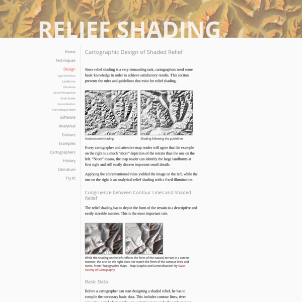 """ Cartographic Design of Shaded Relief - Relief Shading"