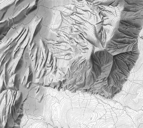 Unfinished shaded relief drawn with a pencil