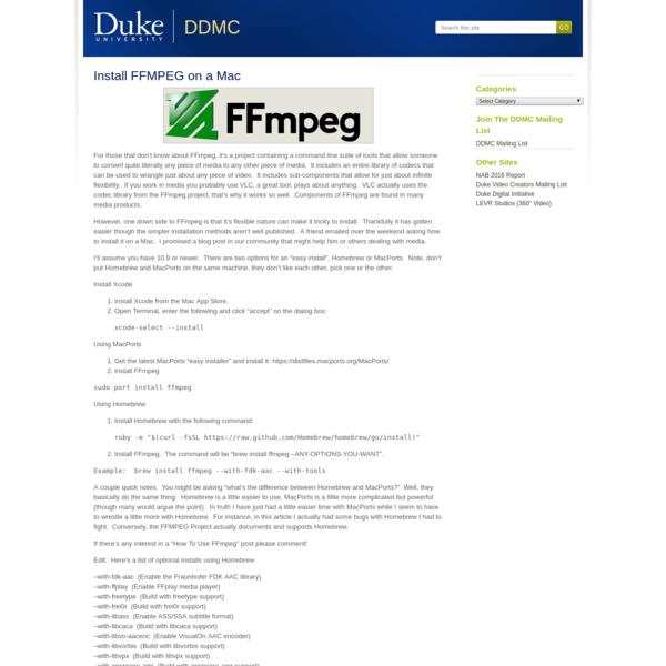 Install FFMPEG on a Mac