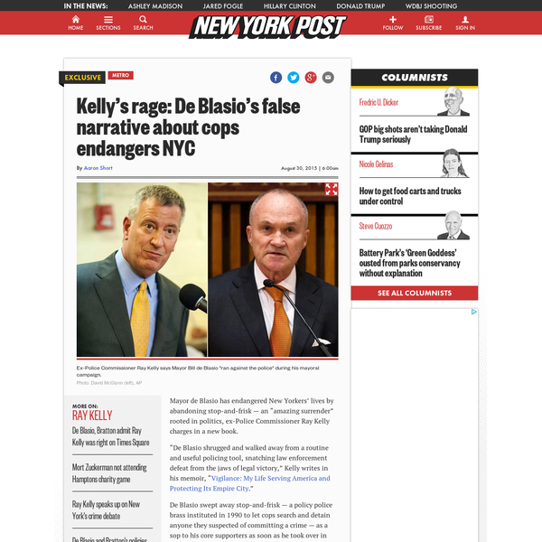 Ray Kelly blasts de Blasio's 'false narrative' in new memoir
