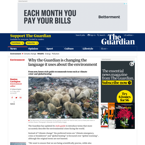 Why the Guardian is changing the language it uses about the environment