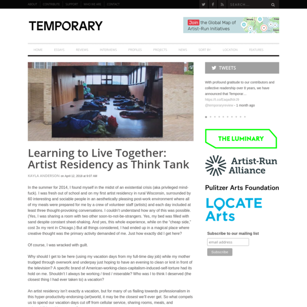 Learning to Live Together: Artist Residency as Think Tank