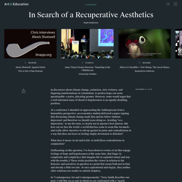 In Search of a Recuperative Aesthetics - Classroom - Art & Education