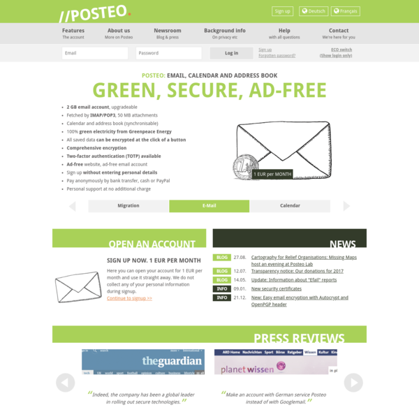 Email green, secure, simple and ad-free - posteo.de -