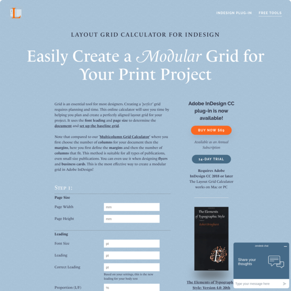 Layout Grid Calculator for Adobe InDesign