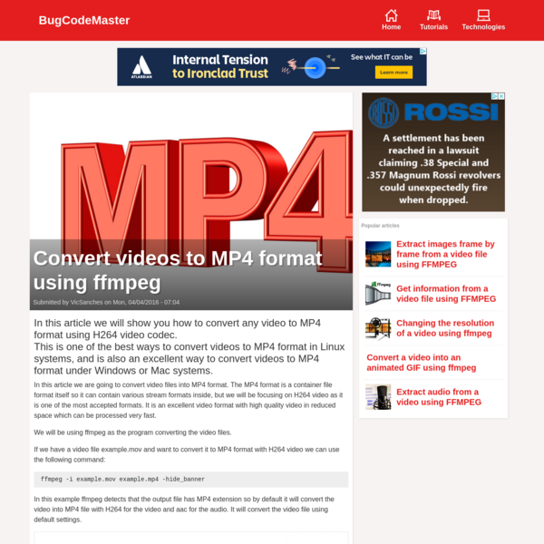 Convert videos to MP4 format using ffmpeg | BugCodeMaster