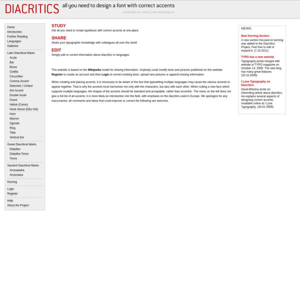 Diacritics Project @ Typo.cz