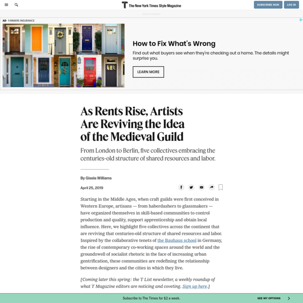 As Rents Rise, Artists Are Reviving the Idea of the Medieval Guild