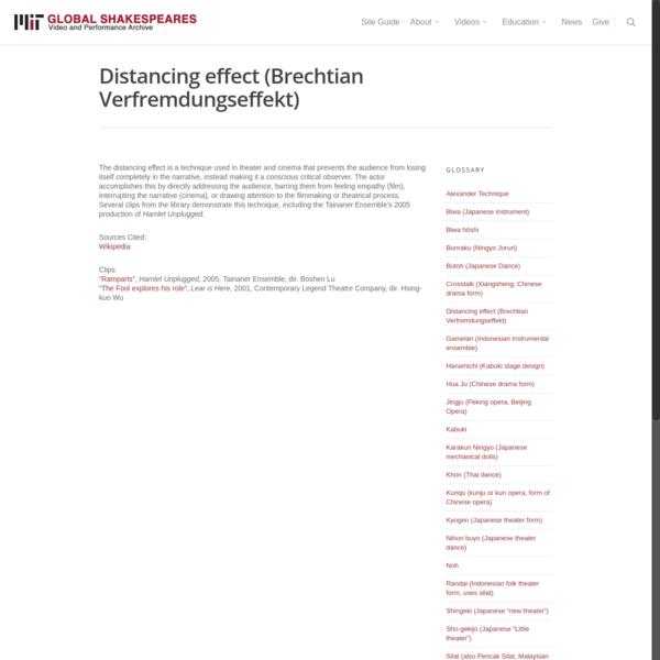 Distancing effect (Brechtian Verfremdungseffekt)