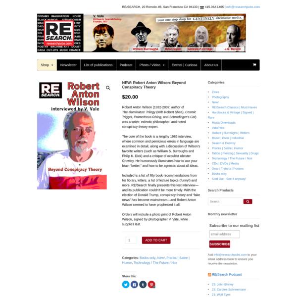 NEW: Robert Anton Wilson: Beyond Conspiracy Theory