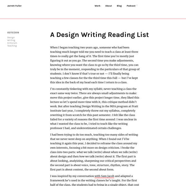 A Design Writing Reading List | Blog-Jarrett Fuller