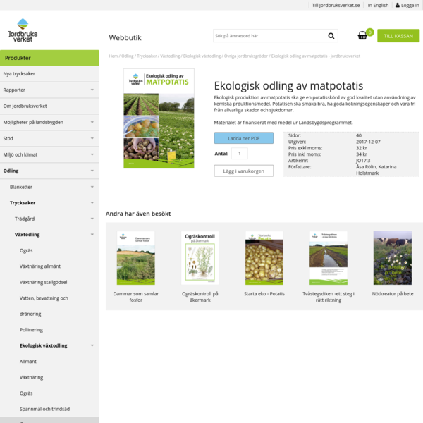 Ekologisk odling av matpotatis - Jordbruksverket