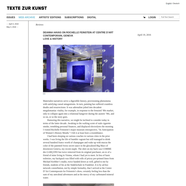 Deanna Havas on Rochelle Feinstein at Centre d'Art Contemporain, Geneva Love & History