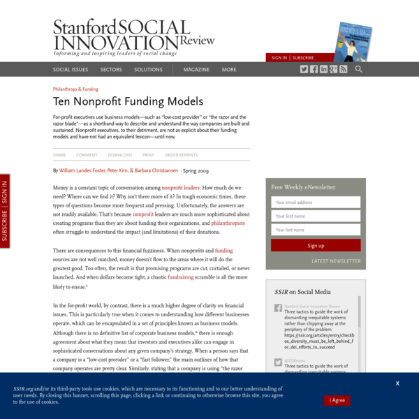 Ten Nonprofit Funding Models