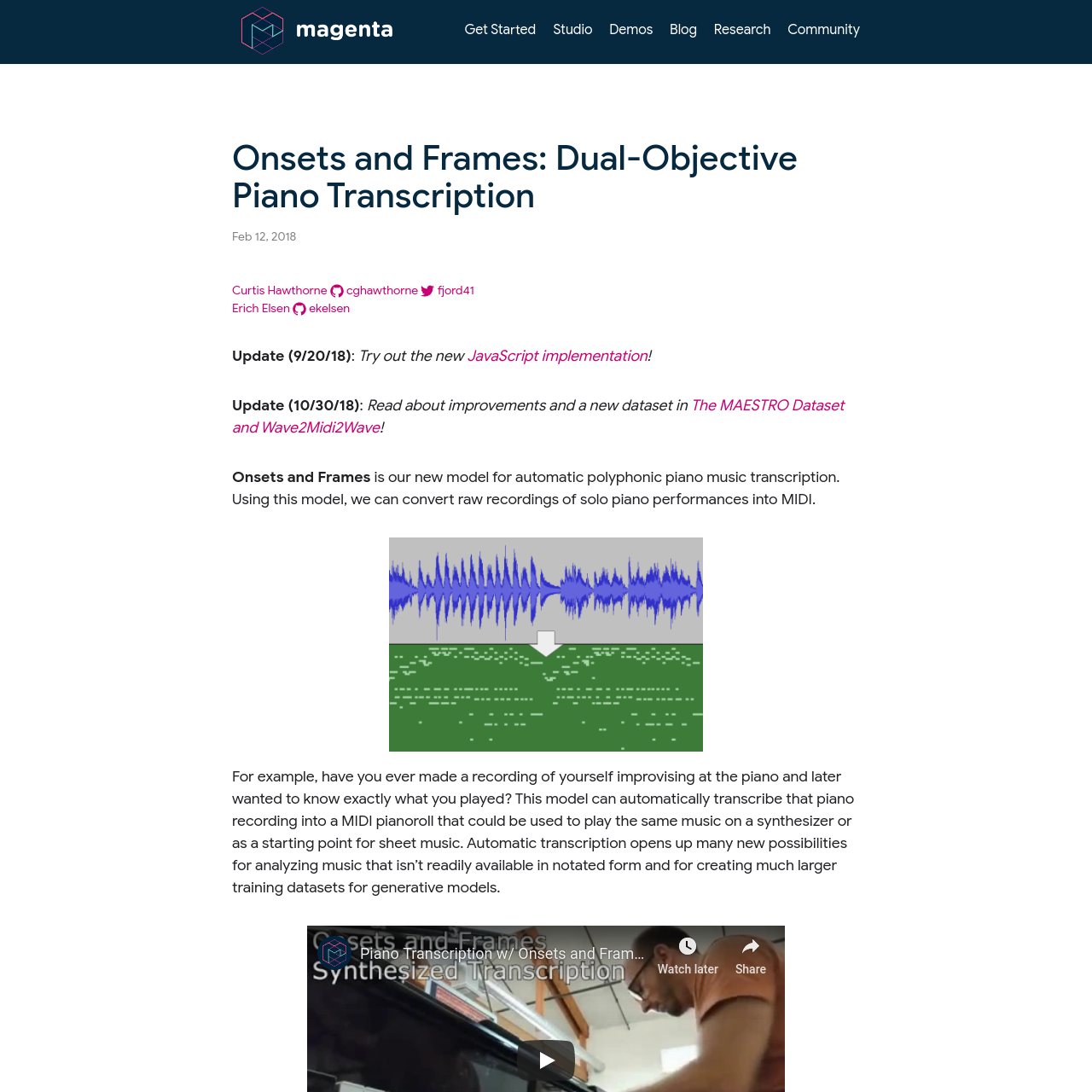 Are na / Onsets and Frames: Dual-Objective Piano Transcription