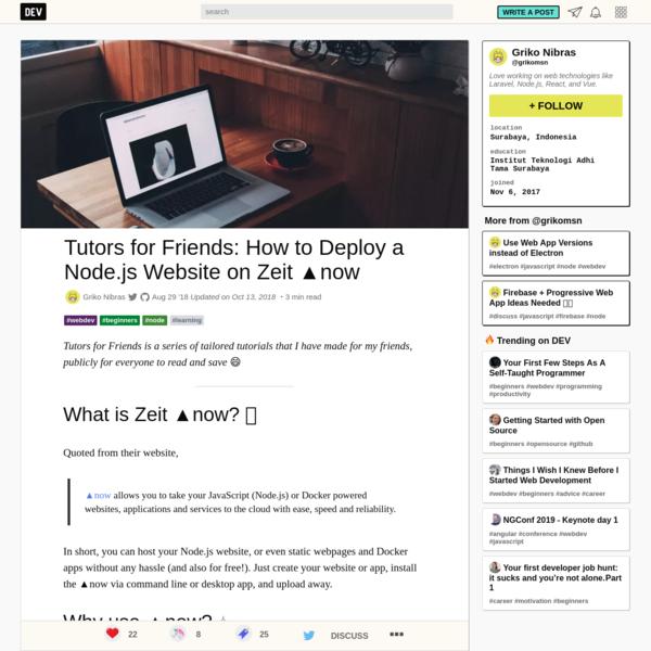 Tutors for Friends: How to Deploy a Node.js Website on Zeit ▲now