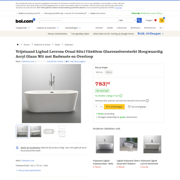bol.com | Vrijstaand Ligbad Levrosa Ovaal 82x172x60cm Glasvezelversterkt Hoogwaardig Acryl Glans...