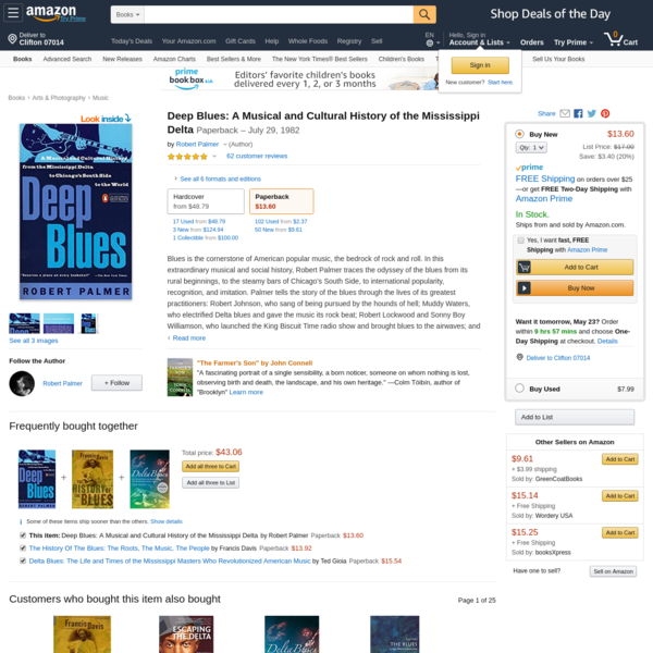 Deep Blues: A Musical and Cultural History of the Mississippi Delta: Robert Palmer: 9780140062236: Amazon.com: Books